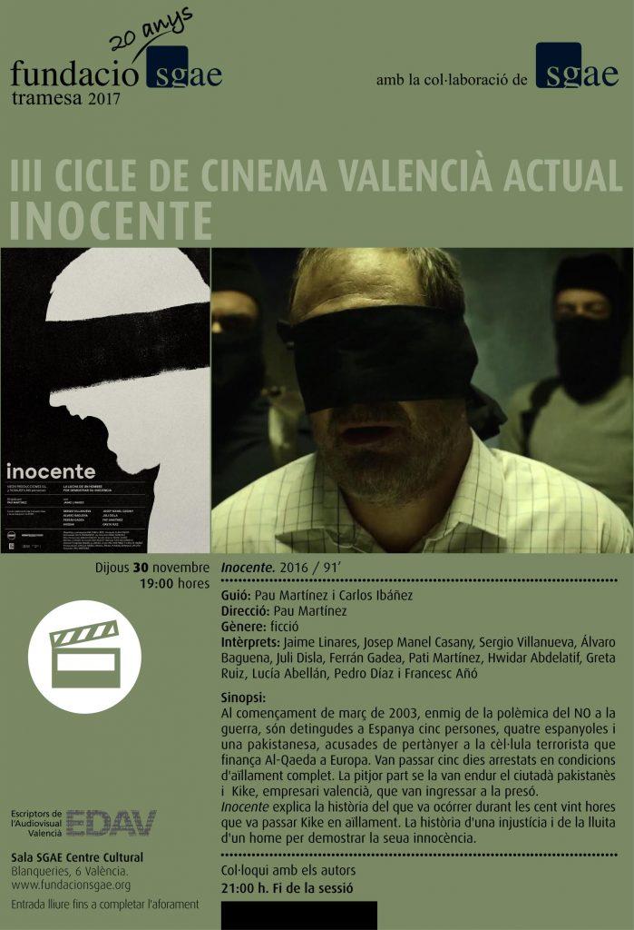"""""""INOCENTE"""", DE PAU MARTÍNEZ, TANCA EL CICLE DE CINEMA VALENCIÀ ACTUAL"""